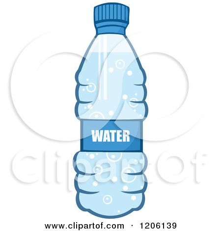 Http Images Clipartof Com Small 1206139 Cartoon Of A Blue Water Bottle Royalty Free Vector Clipart Jpg Blue Water Bottles Blue Water Water Bottle
