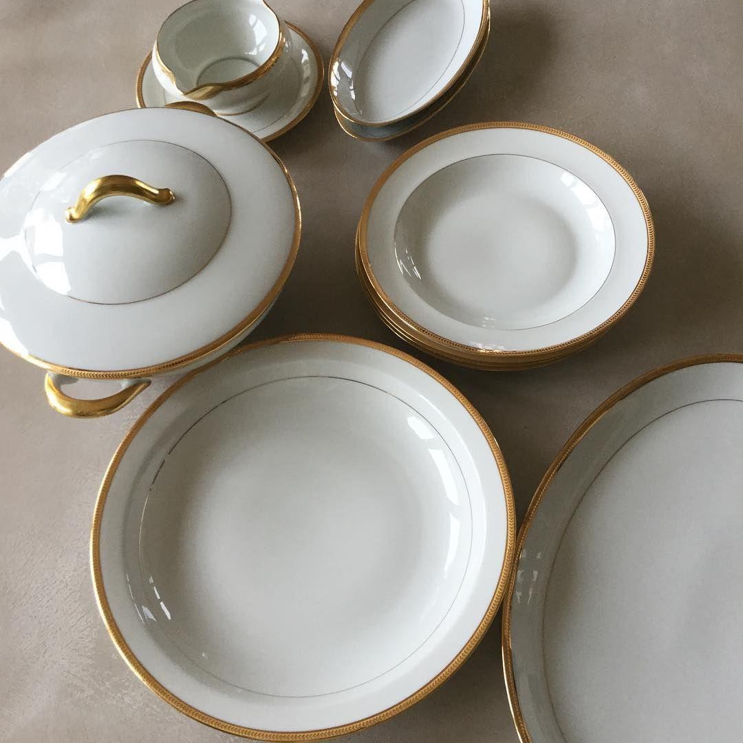 Jammet Seignolles Passy Gold Limoges Porcelain Dinnerware. 24 carat gold detail. #fatiguedfrenchfindsonetsy & Jammet Seignolles Passy Gold Limoges Porcelain Dinnerware. 24 carat ...