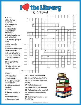 Library Crossword Puzzle Worksheet Activity Library Skills School Library Lessons Library Lesson Plans