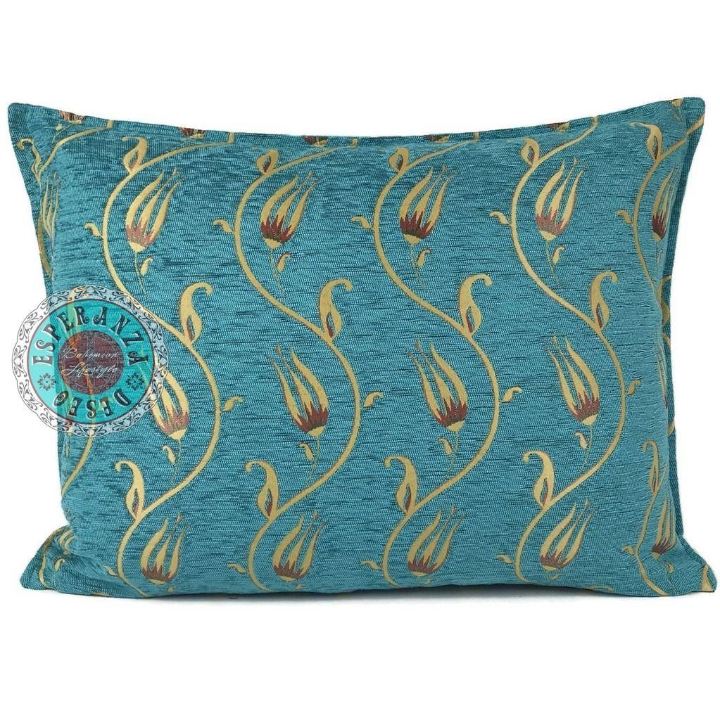 Turquoise kussens, bohemian interieur, Ibiza style