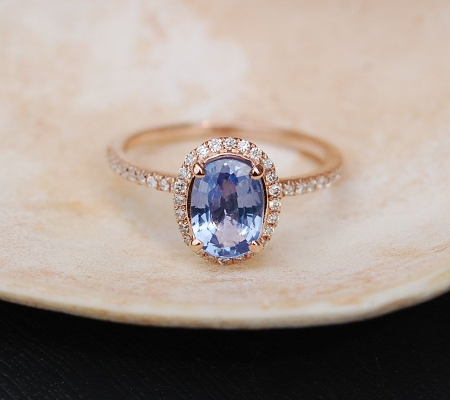 135ct Cornflower Blue Oval Sapphire Diamond Ring 14k Rose