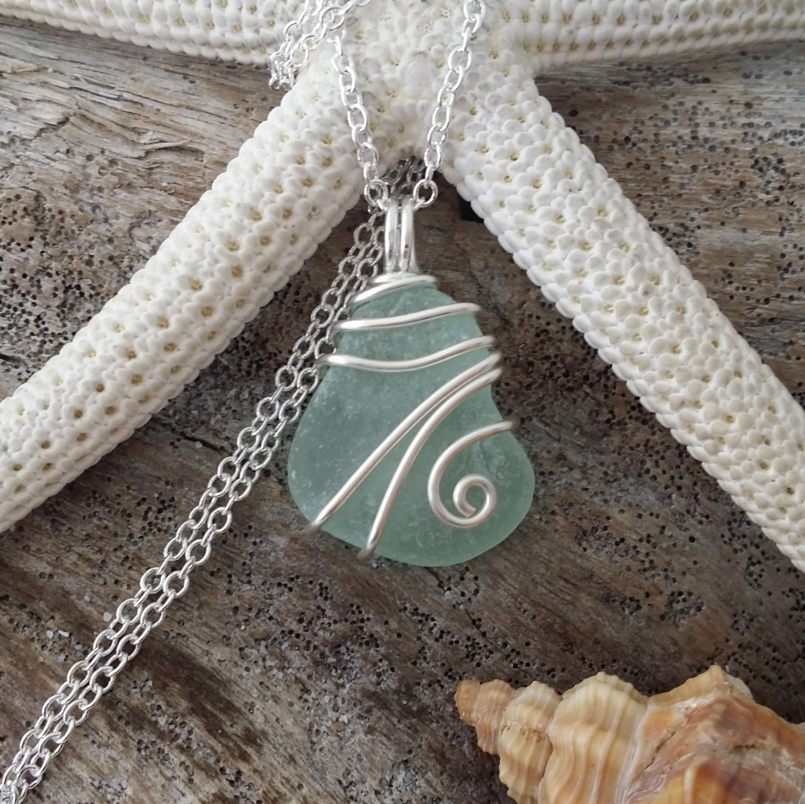 Handmade in Hawaii, Genuine surf tumbled sea glass. Wire wrapped ...