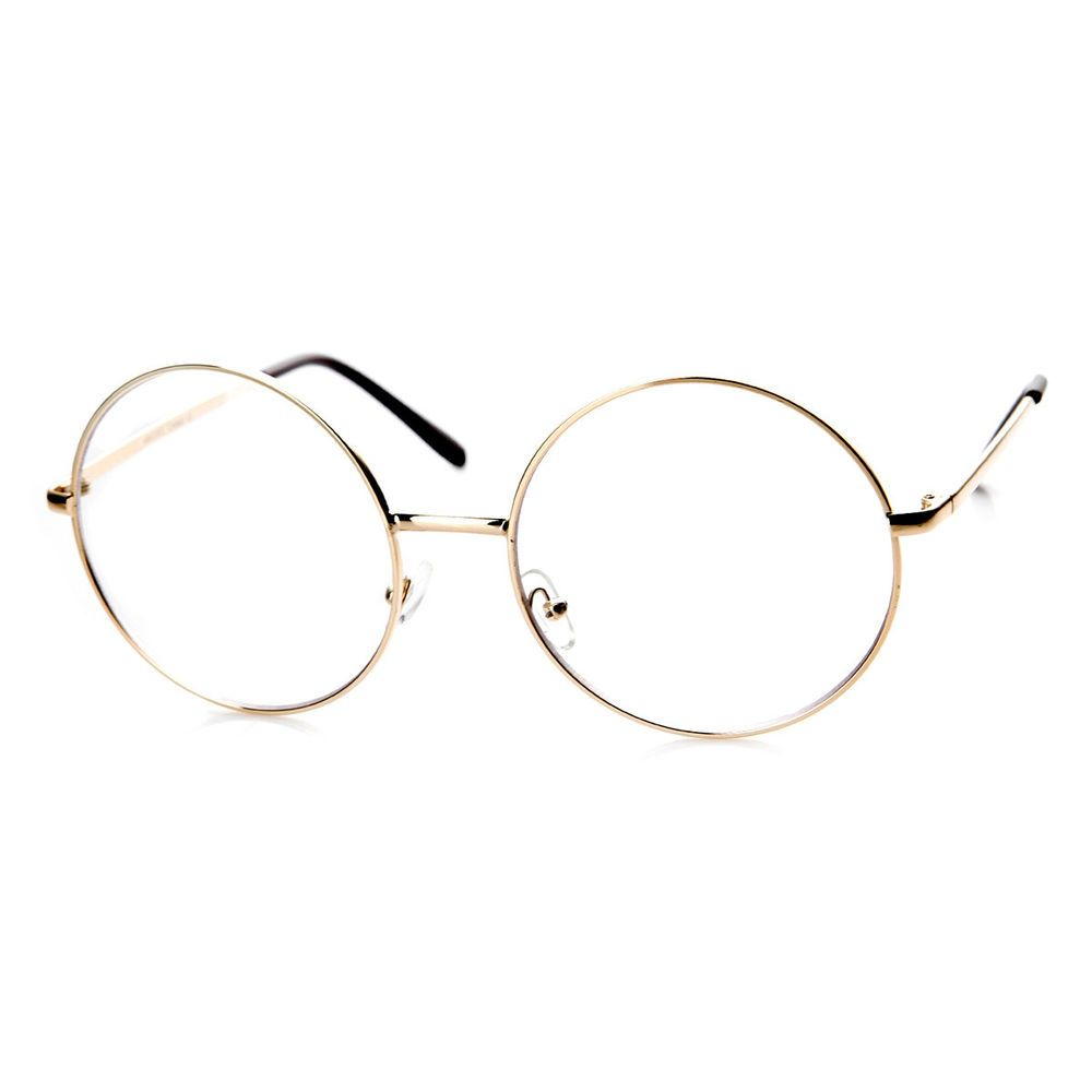 Large Oversized Metal Frame Clear Lens Round Circle Eye Glasses ...