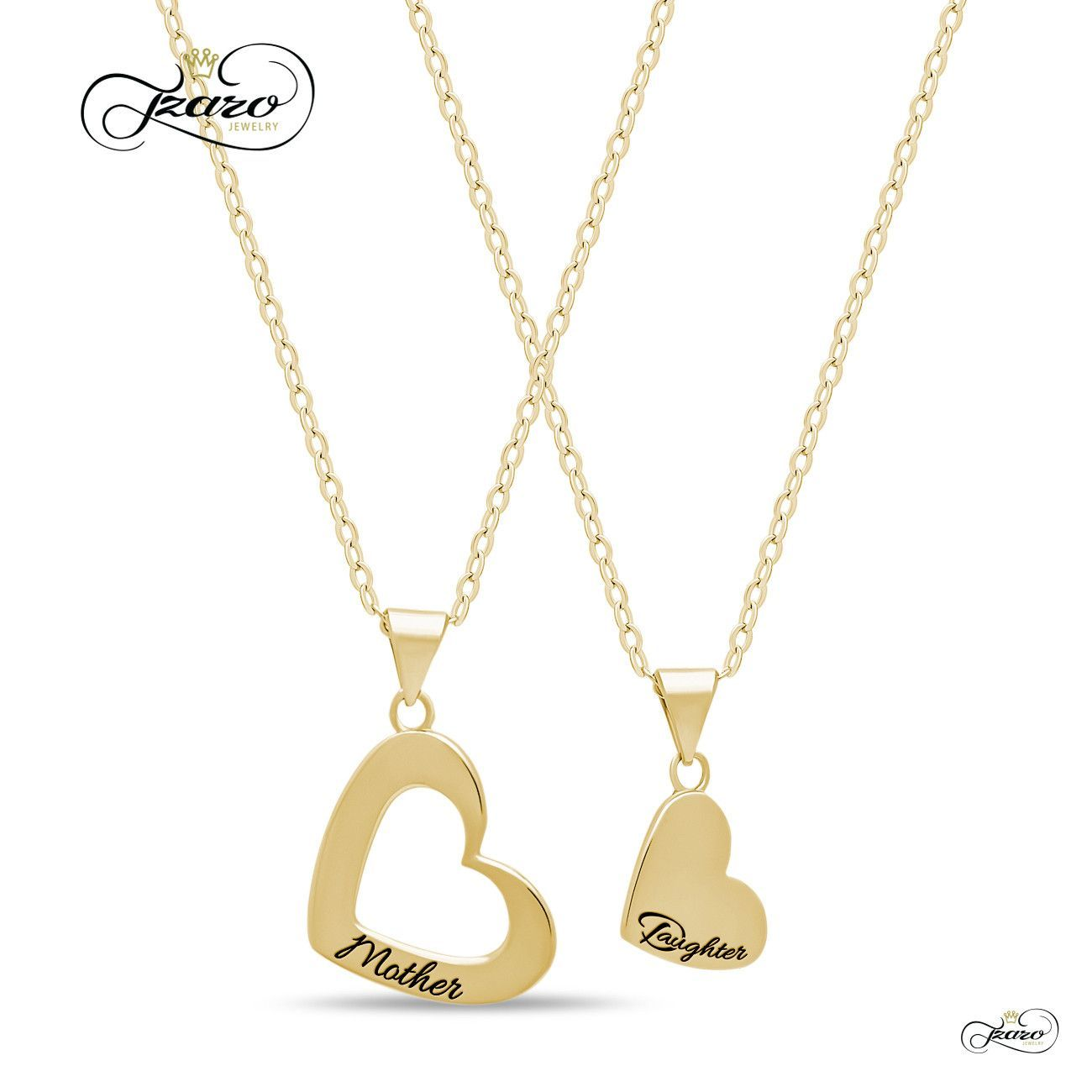 Mother Daughter Heart Necklace Set Silver K Gold Plated