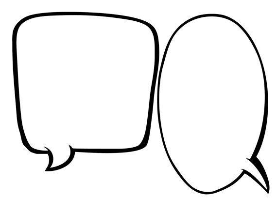 Blank Speech Bubbles 1 2 Page Instant Download Applique