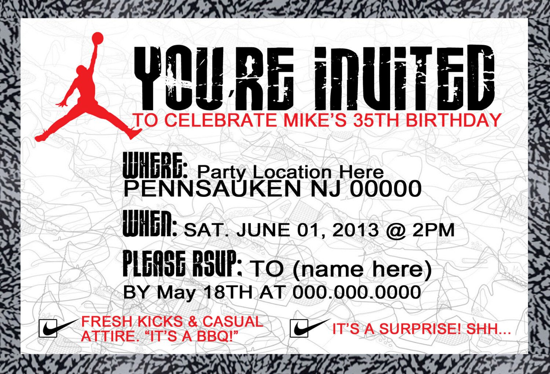 Air jordan invitation party locations invitations 35th