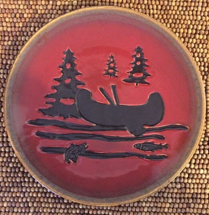 Home Studio Woodland Hand Painted Red Brown Canoe Fish Trees Salad ...