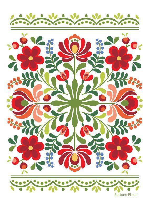 Ungarische Volkskunst-Rot-Blumen - Indispensable address of art #flowerpatterndesign