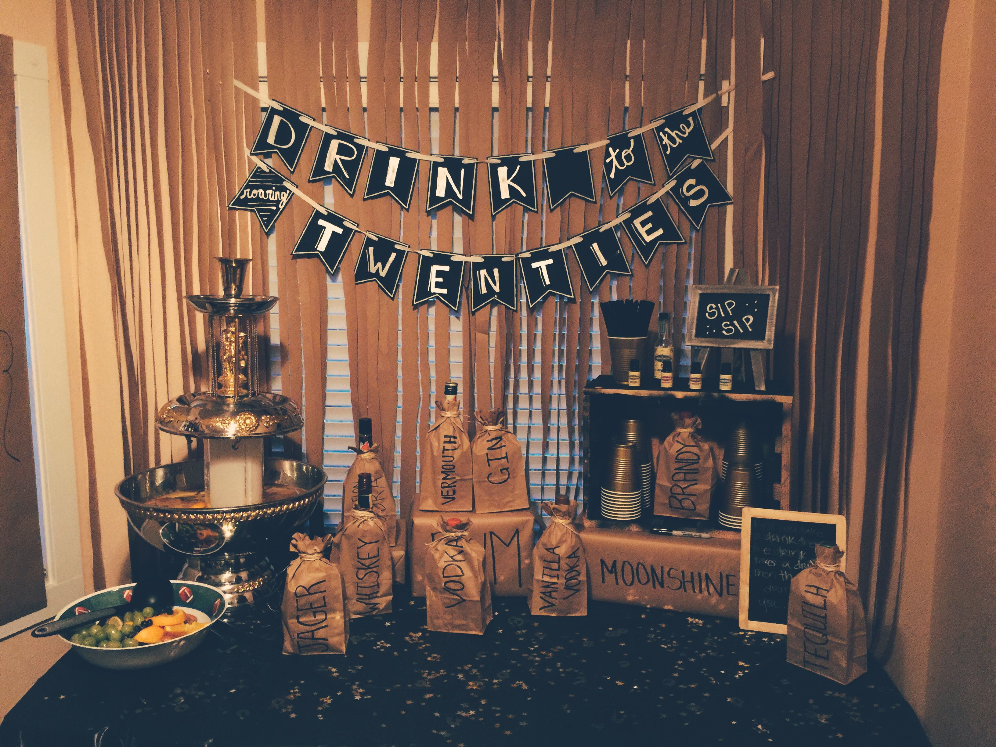 Decor For Our Goodbye Roaring 20s Birthday Party We Threw For Friends 1920s Great Gats 20th Birthday Party Roaring 20s Birthday Party 20s Party Decorations