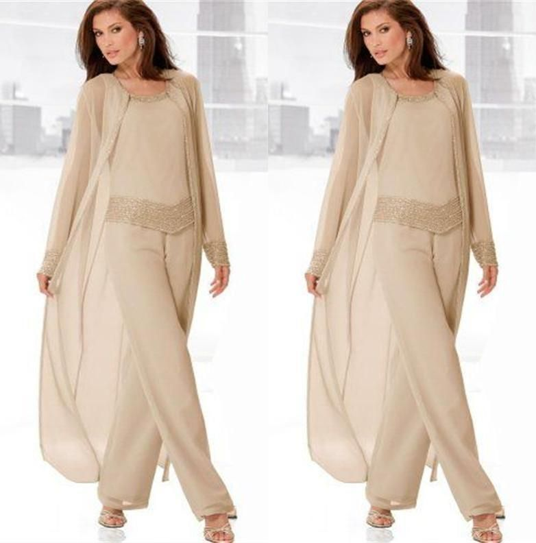 2015 New Fashion Chiffon Three Pieces Mother Of The Bride Pant ...