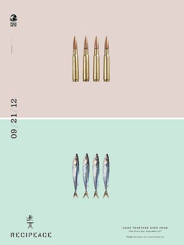 #Recipeace project, agency Leo #Burnett Chicago won the White Pencil 2012 by D&AD. Is discourse is based on the idea of a share #meal on September 21 (International Peace Day) as a symbol of settling differences between people and a first step to inspire #peace.