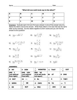 Limit Joke Worksheet Mathematics Worksheets Ap Calculus Ap Calculus Ab