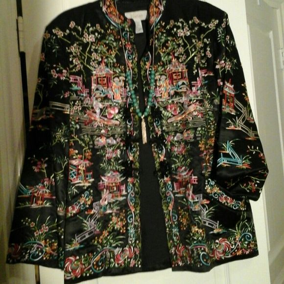 Love Sam Women's clothings Love Sam Smocked Silk-Embroidered Bomber Jacket  Approximately 20in from shoulder