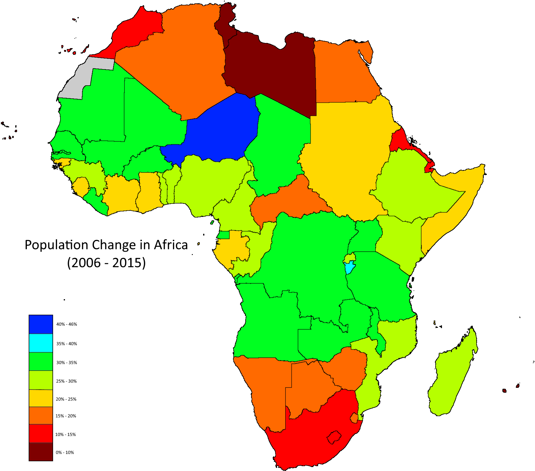 Population change in Africa from 2006 to 2015 | Alkebulan(Afrikan
