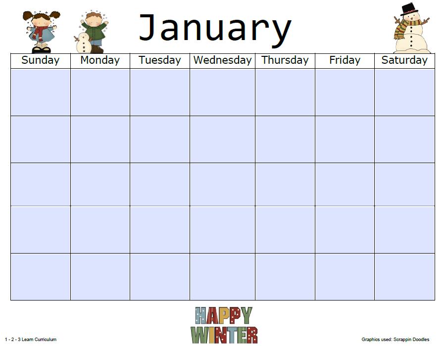 Preschool Printable Calendar   Calendar