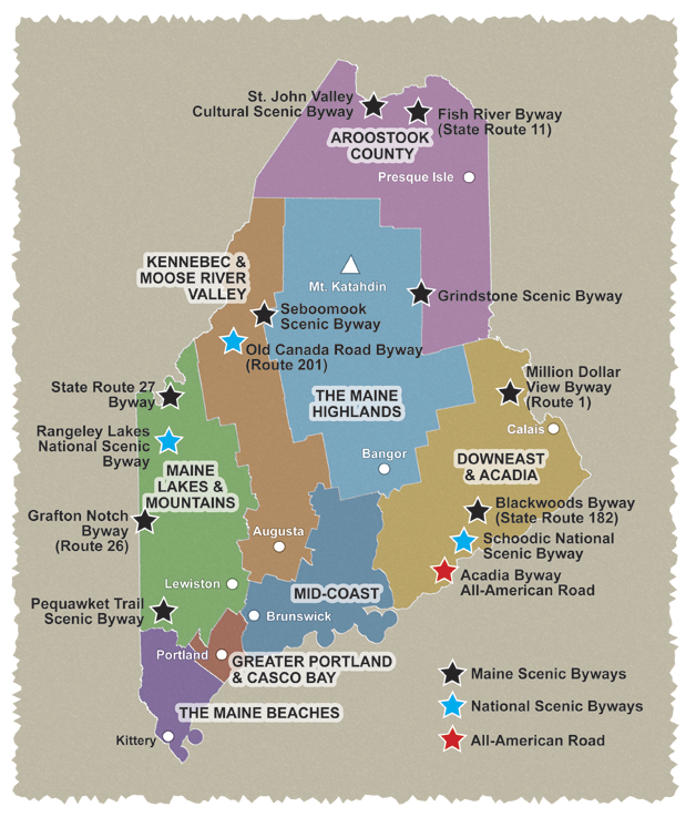 Map of Maine\'s Scenic Byways, gives you the names so you can Google ...