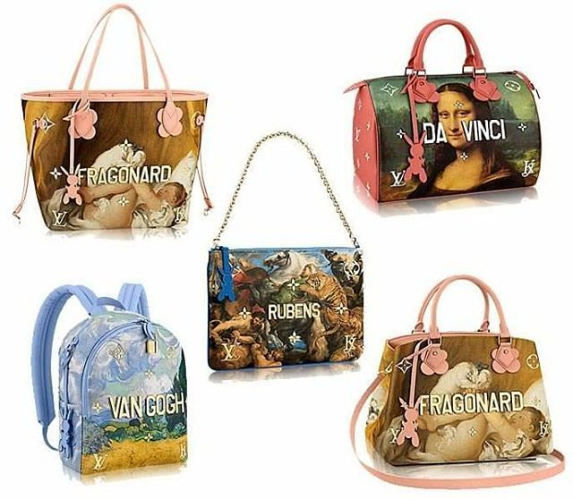 9dcbdc98b9f8 Louis Vuitton taks the notion of a work of art to a whole new level by  teaming up with artist Jeff Koons and putting works by Old Masters  including Da Vinci ...