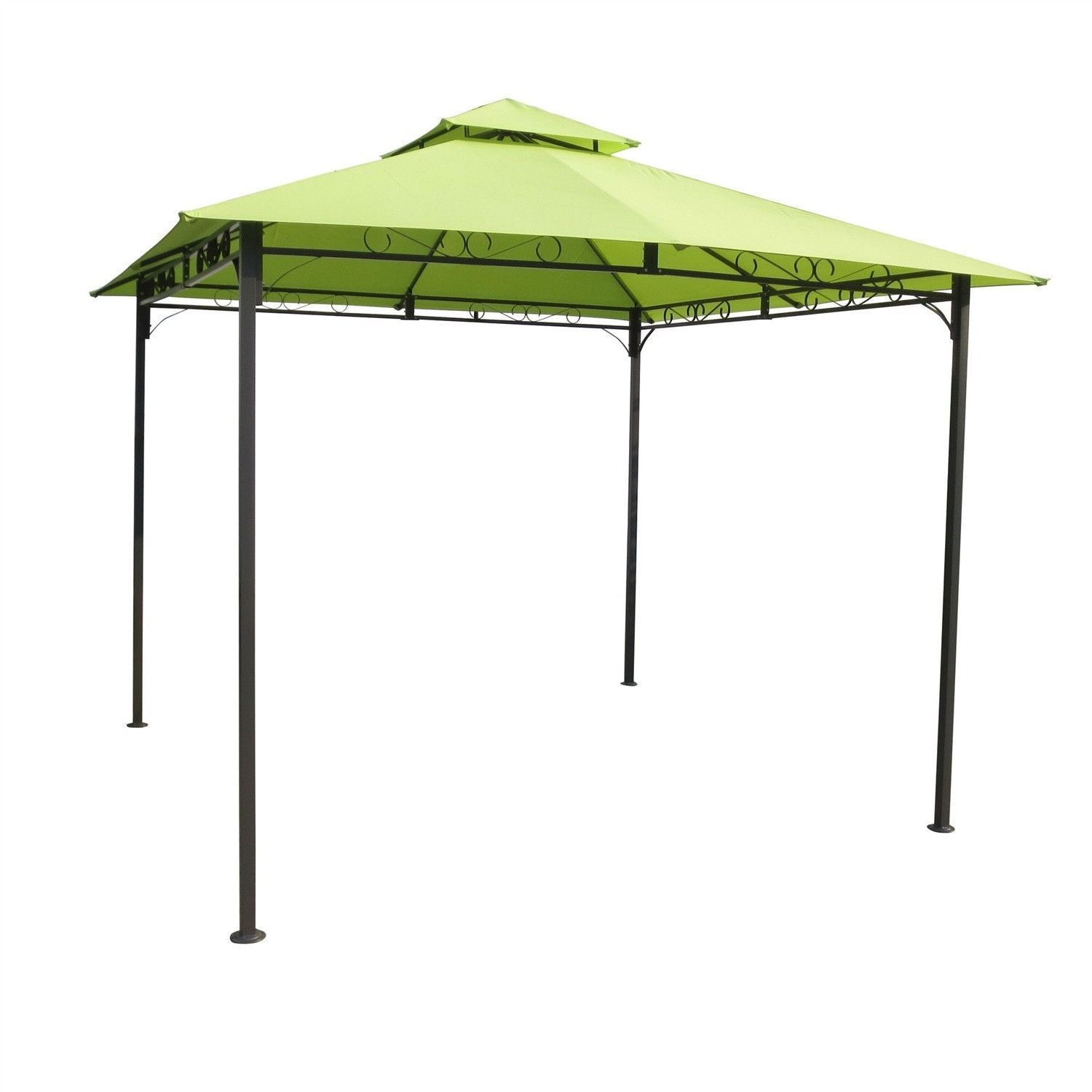 10Ft x 10Ft Weather Resistant Gazebo with Lime Green Canopy ...
