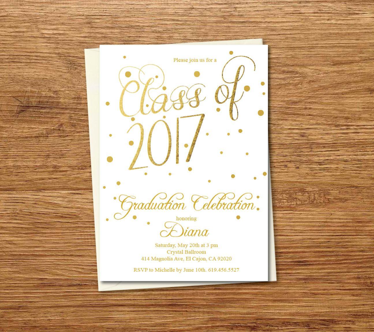 Class Of  Graduation Invitation Card Graduation Announcement
