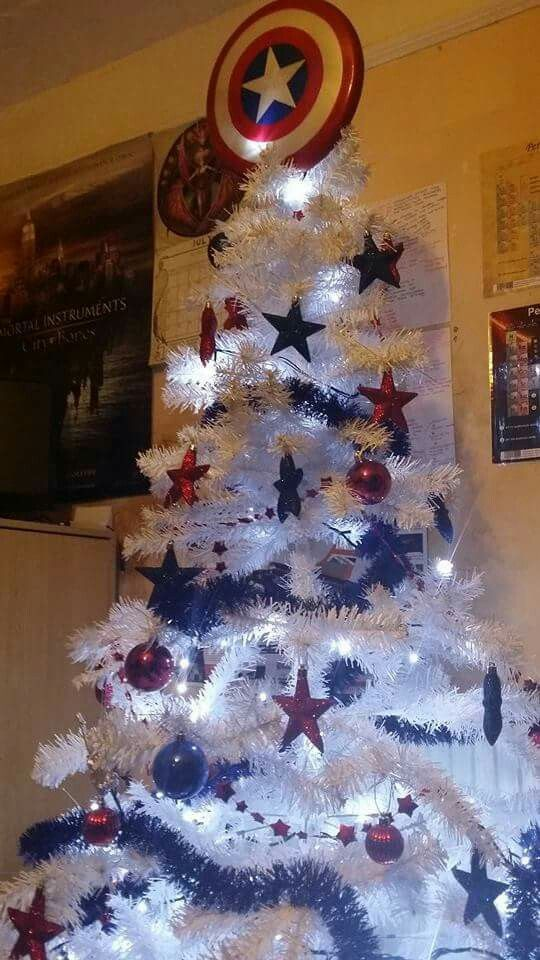 My Captain America Christmas Tree Credit Please Christmas Time Paw Patrol Christmas Christmas Countdown