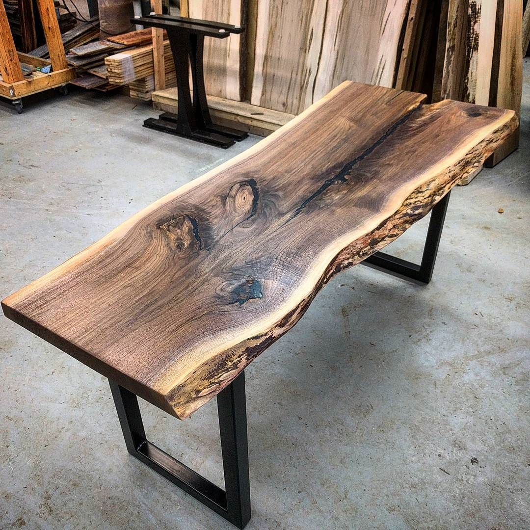 Vintage Industrial Live Edge Walnut Slab Coffee Table: Could Be Neat As Added Counter Space Or Even The Base For