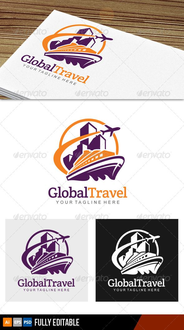 Global Travel Logo Vector EPS Print Purple O Available Here Graphicriver Item 7203978refpxcr