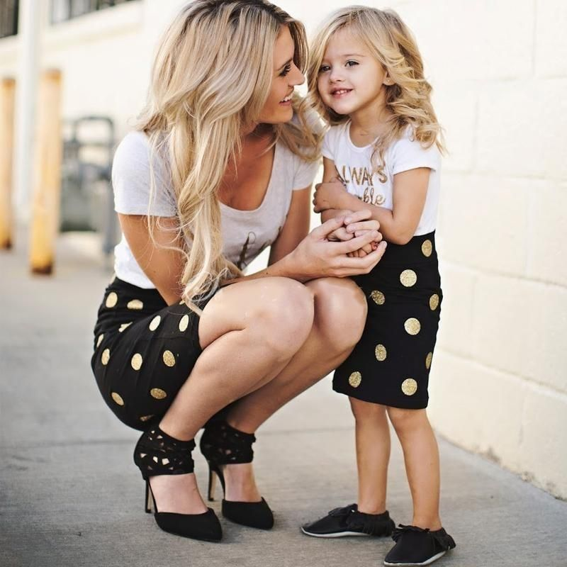 a2f323be75f These adorable two piece matching outfits feature a black and gold polka  dot pencil skirt and signature white glam tee. These slimming outfits are  perfect ...