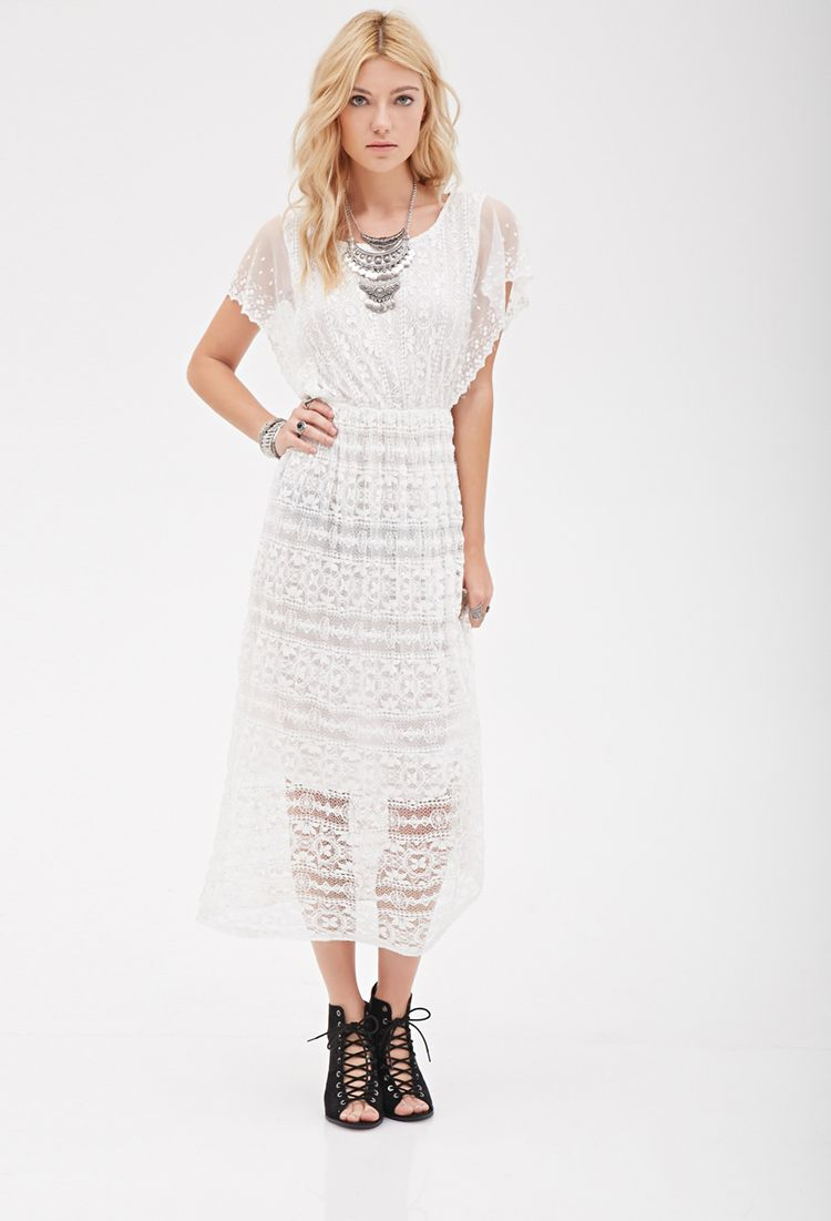 Crochet lace midi dress forever clothing