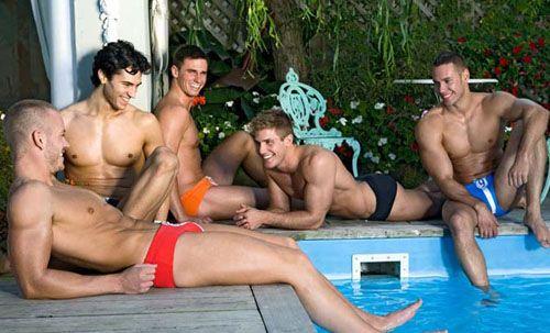 poolside gay male model