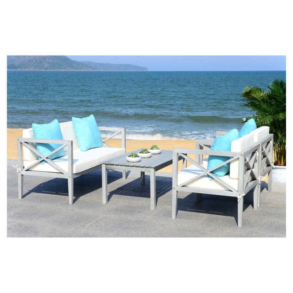Montez 4pc Wood Patio Seating Set - Teak/Navy - Safavieh ... on Safavieh Outdoor Living Montez 4 Piece Set id=40442