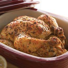 Juiciest Roast Chicken Recipe In 2020 Pampered Chef Pampered Chef Stoneware Pampered Chef
