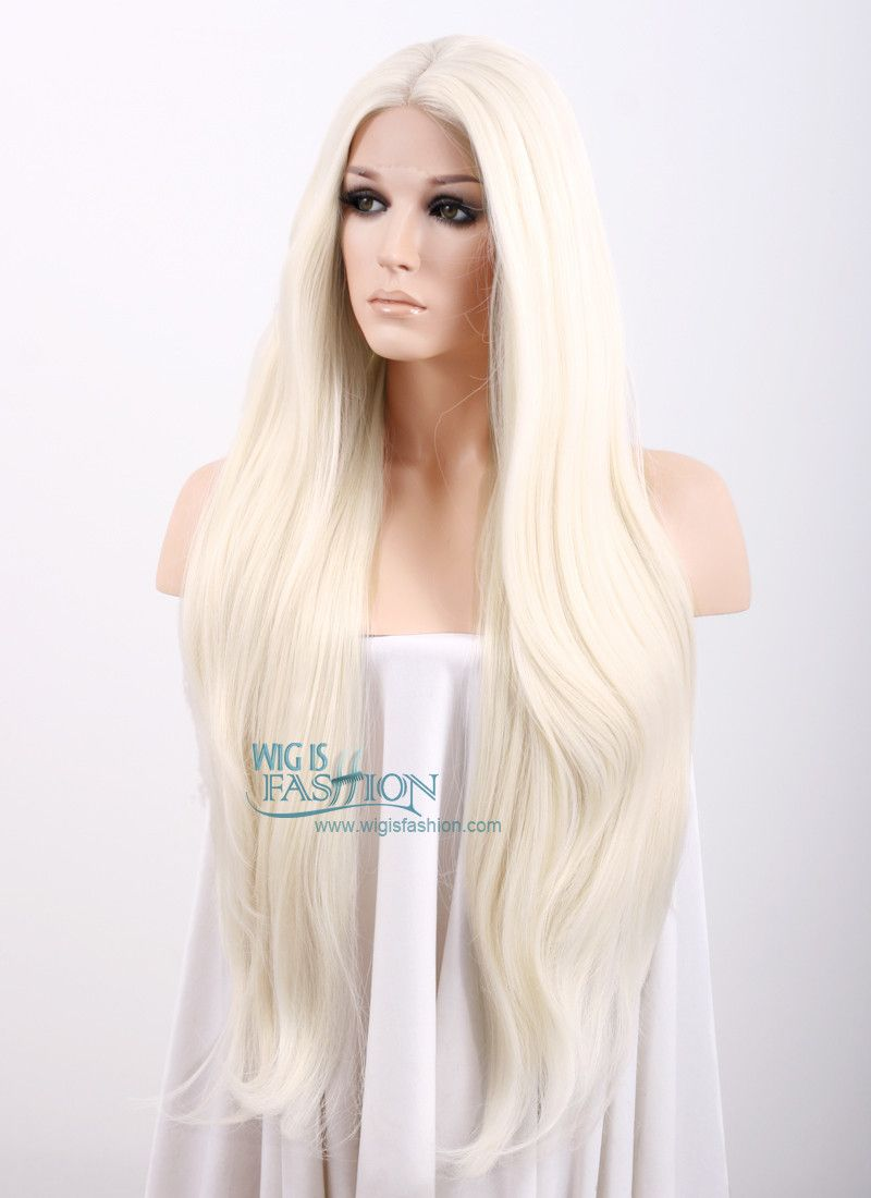 20 28 Long Straight Platinum Blonde Lace Front Synthetic Hair Wig Lf150d Wig Hairstyles Blonde Lace Front Wigs Lace Front Wigs
