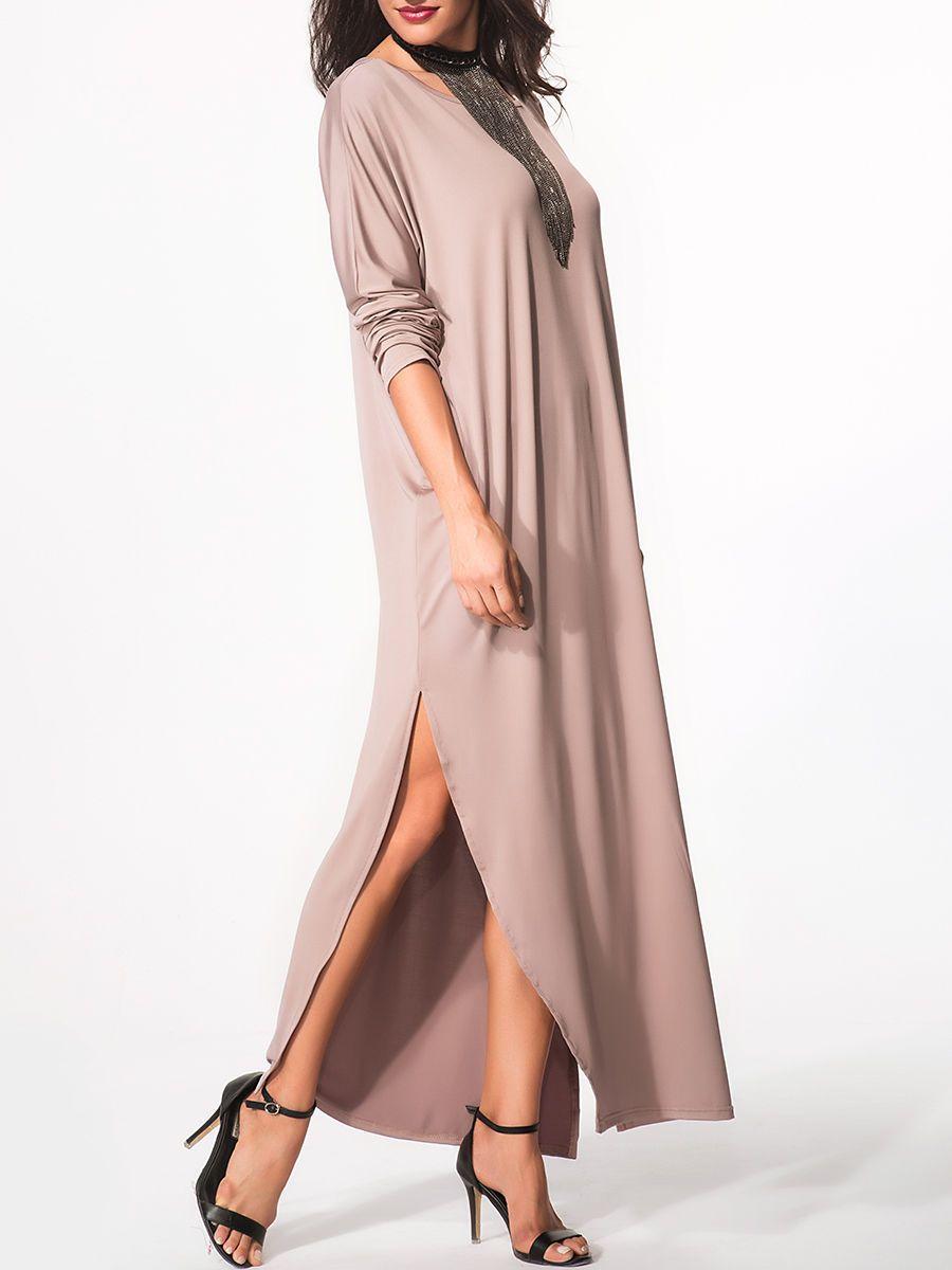 Round neck Plain Side slit maxi-dress Only $16.95 USD More info...