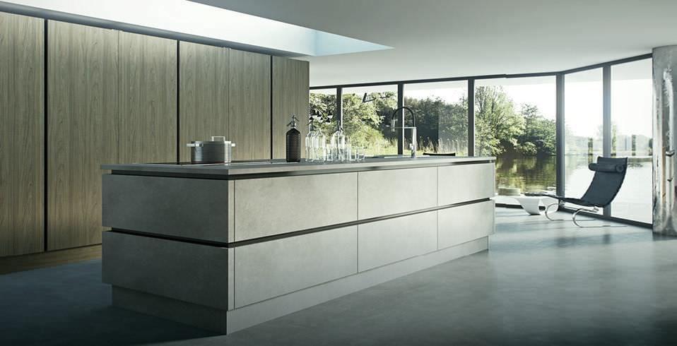 Moderne Küche \/ Holz \/ Versteckte \/ einziehbaren Türen LAMINA - küche aus holz