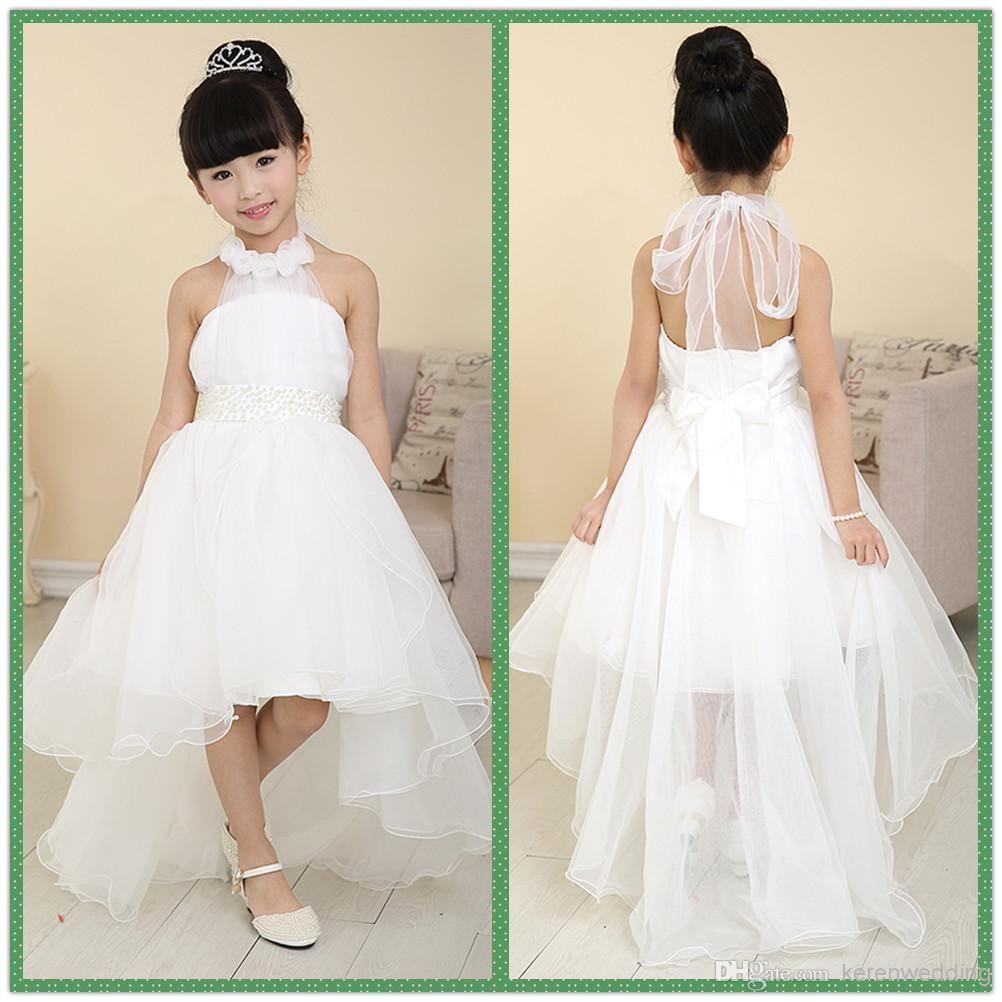 Halter Tulle High Low Flower Girl Dresses For Beach Wedding