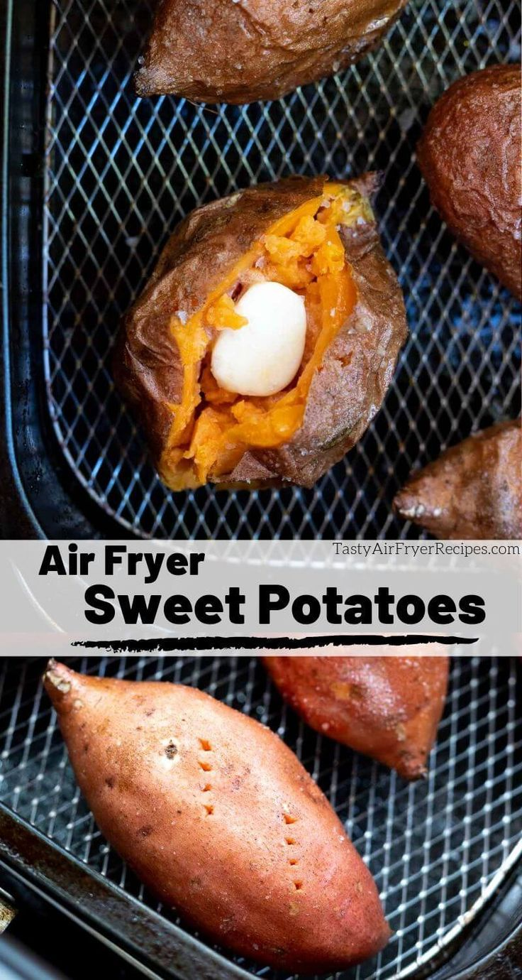 Just in time for holiday menu planning, thisAir Fryer Sweet Potato Recipe is a great way to prepare your baked sweet potatoes. It still takes a bit to cook whole sweet potatoes but they get fluffy on the inside and slightly crisp on the outside. The perfect holiday side dish or nutritious snack. #airfryerrecipes #airfryerfood #sweetpotatorecipes #airfryersweetpotato #holidayrecipes #sidedishrecipes #airfryerrecipes