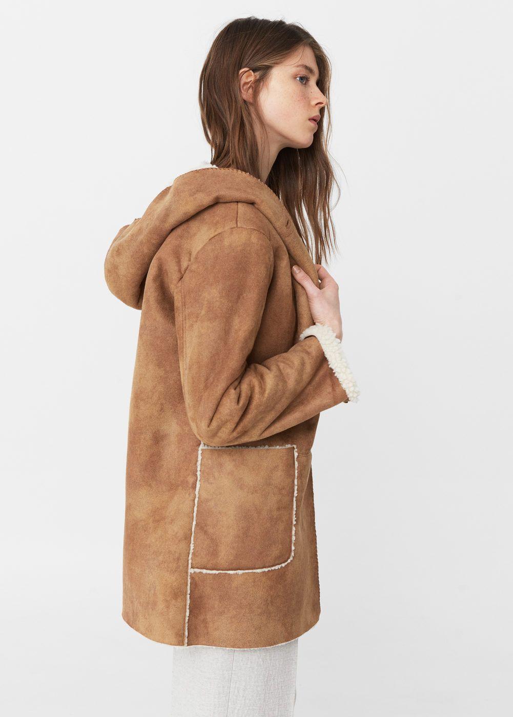 7a18d21937 Cappotto collo pelliccia di pecora - Donna | Moonica | Faux ...