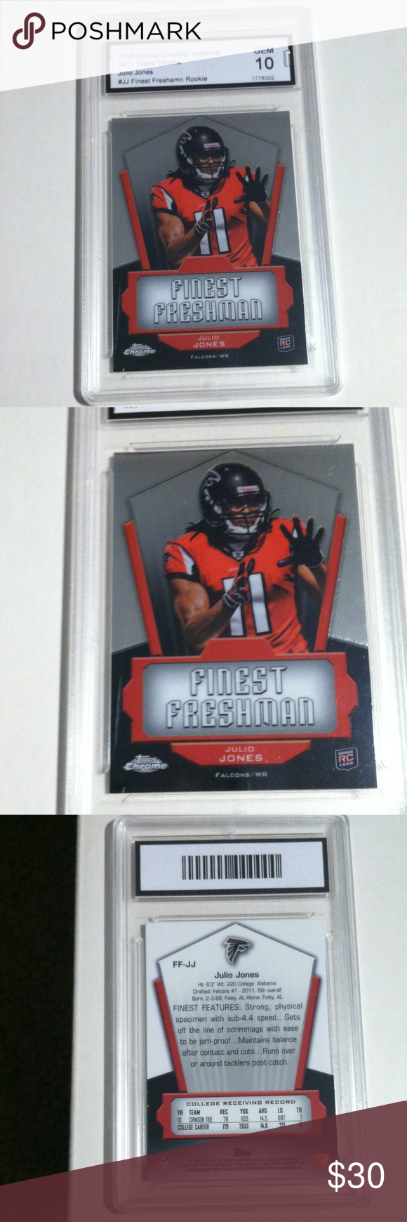 Atlanta Falcons Football Card Julio Jones Rookie Julio Jones 2011 Topps Chrome Finest Freshman Rookie Atlanta Falcons Football Football Cards Falcons Football