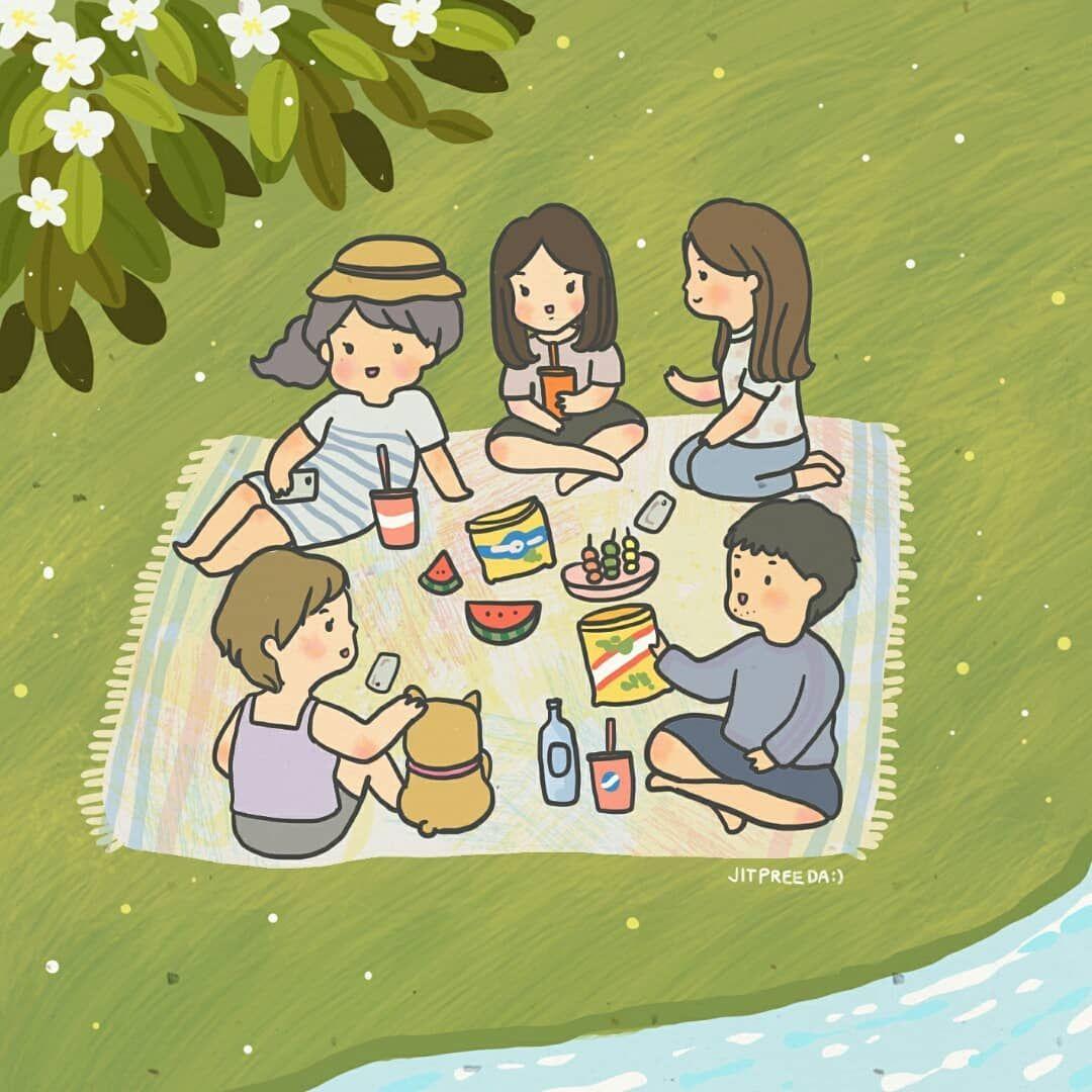 рисунок пикник с семьей смотрела