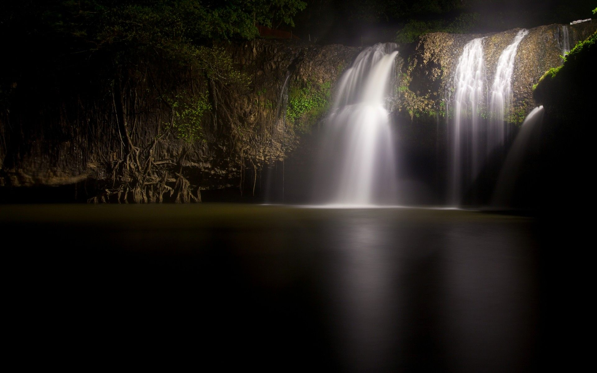 Dark Nature Wallpaper Landscapes Nature Dark Night Waterfalls