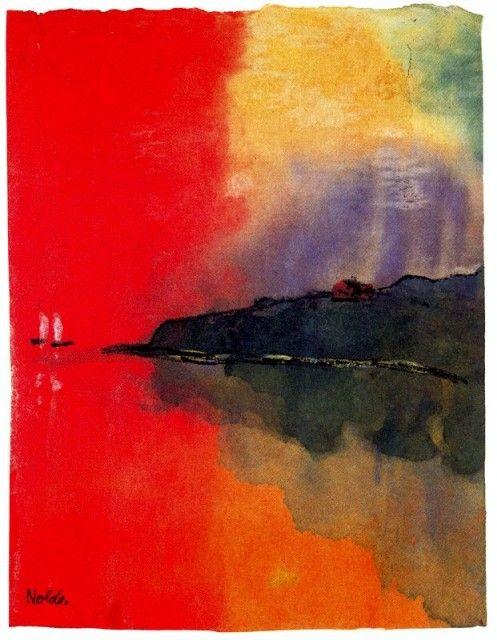 Emil+Nolde+-+Seacoast+_Red+Sky_+Two+White+Sails_.jpg 497×640 pixels