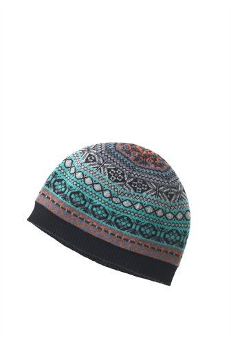 Cashmere slim fit cap in a woven fair isle pattern, black lining ...