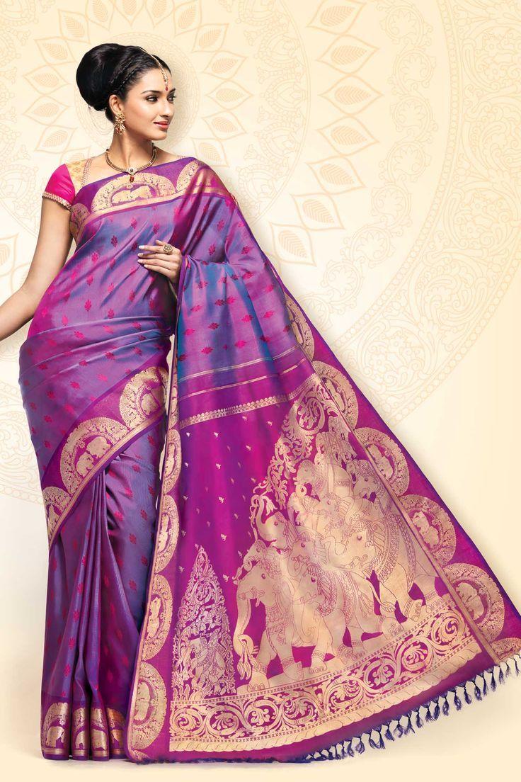 Stunning Kanchivaram Silk Saree in Purple with Elephant Pallu Design ...
