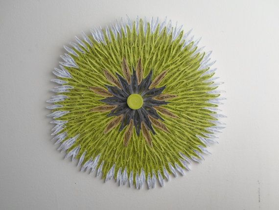 Huge flower wall hanging Round wall decoration Chartreuse home decor ...