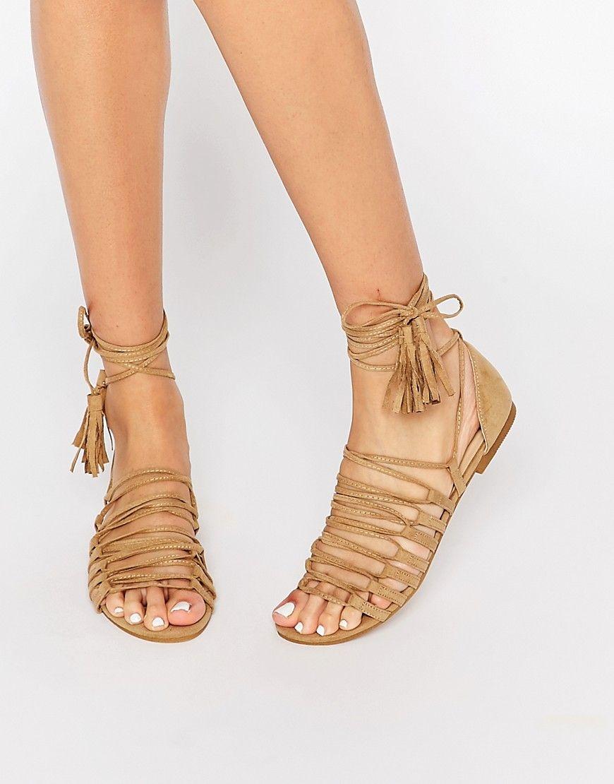 Sandalias Gladiador de mujer Sandalias planas de cordones planos con cordones y sandalias planas de ante L5wONHZfVZ