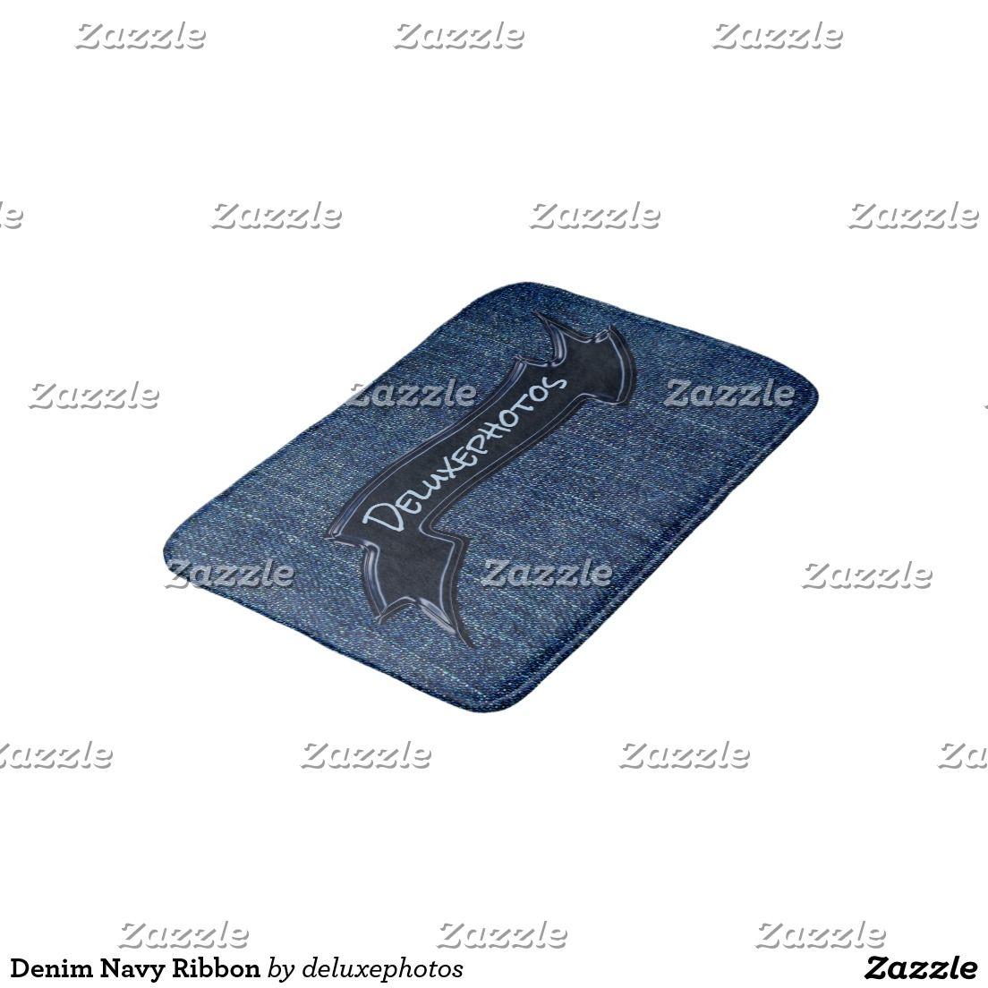 Denim Navy Ribbon Bath Mat