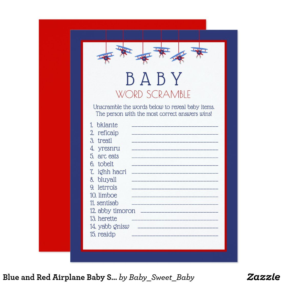 Blue and Red Airplane Baby Shower Word Scramble Invitation