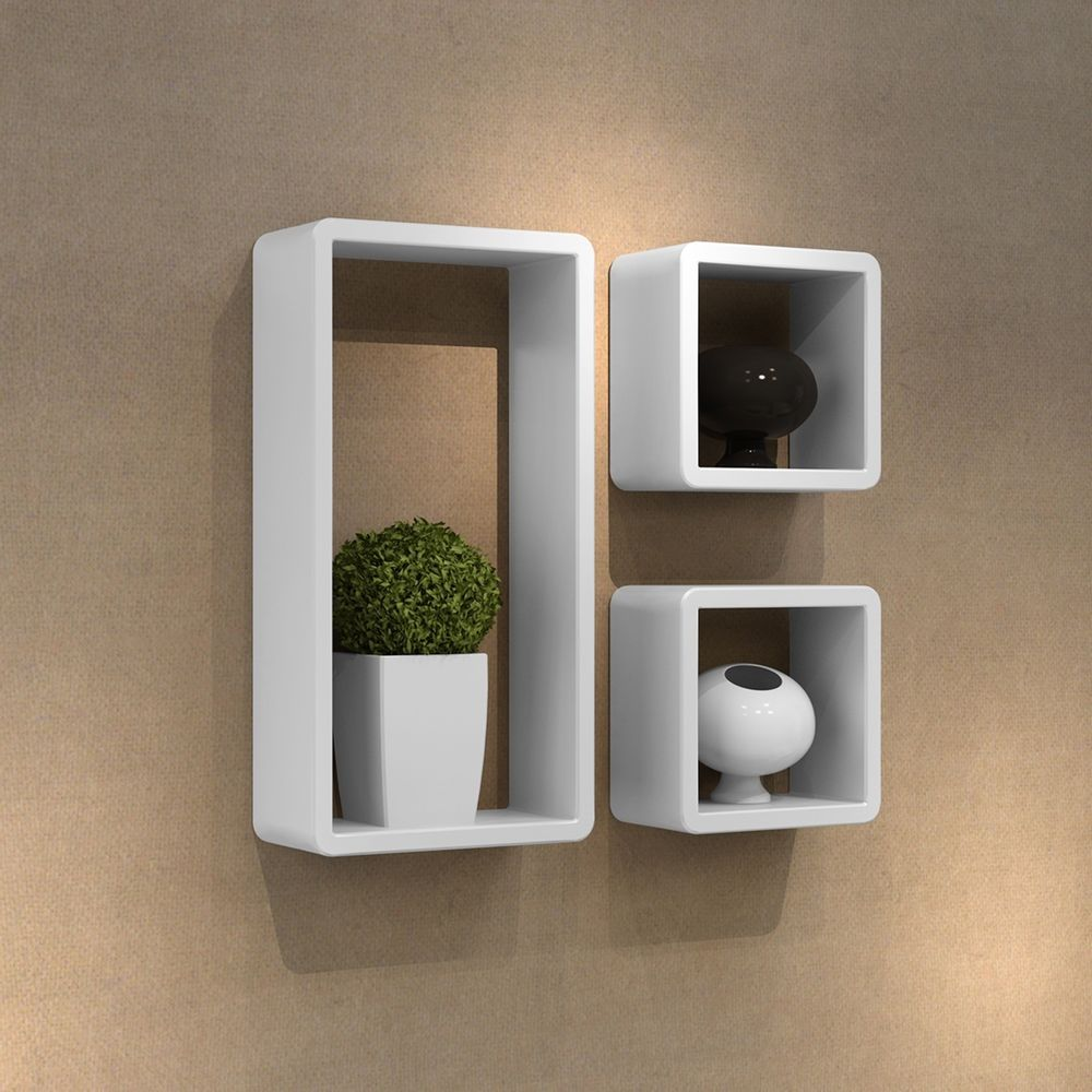 3 Retro Wall Cubes Floating Shelves Stand Storage Display Uni