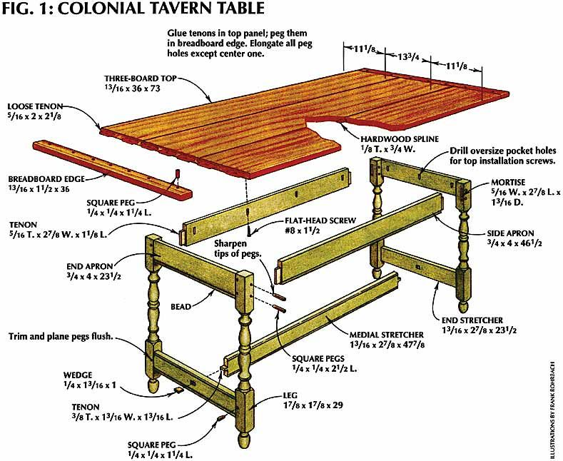 Tavern Table Plans Tavern And Table Colonial House Sketchup Woodworking