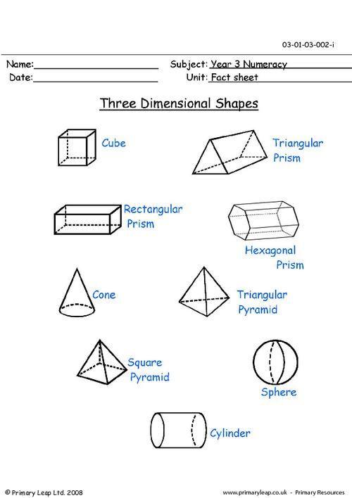 Three Dimensional Figures Worksheet มีรูปภาพ